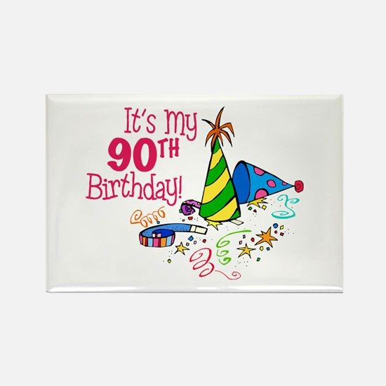 It's My 90th Birthday (Party Hats) Rectangle Magne