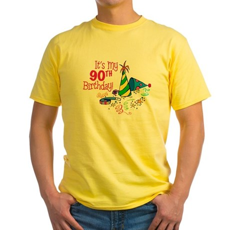 It's My 90th Birthday (Party Hats) Yellow T-Shirt