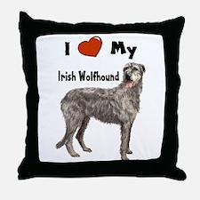 I Love My Irish Wolfhound Throw Pillow