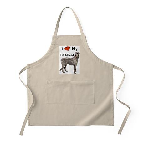 I Love My Irish Wolfhound BBQ Apron