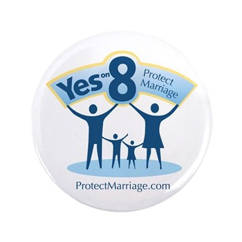 """Yes on 8 Protect Marriage 3.5"""" Button"""