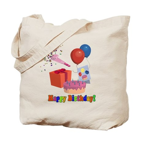 Happy Birthday Reusable Canvas Gift Bag Tote