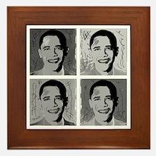 Black & white Obama Framed Tile