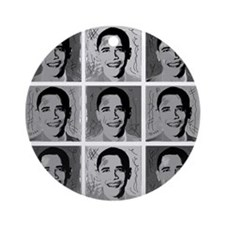 Black & white Obama Ornament (Round)