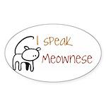 I speak Meownese Oval Sticker (10 pk)