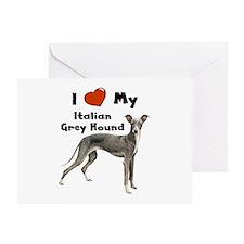 I Love My Italian Greyhound Greeting Card