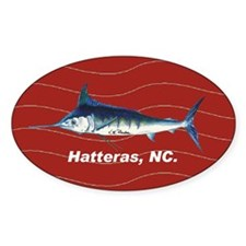 Blue marlin Oval Sticker in red