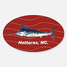 Blue marlin Oval Sticker in red