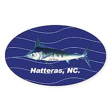 Blue marlin Oval Sticker in blue