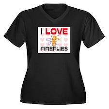 I Love Fireflies Women's Plus Size V-Neck Dark T-S