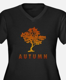 Autumn Tree Women's Plus Size V-Neck Dark T-Shirt