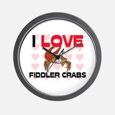 I Love Fiddler Crabs Wall Clock