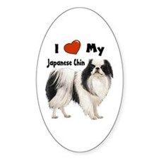 I Love My Japanese Chin Oval Decal