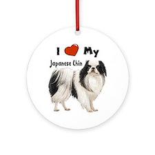 I Love My Japanese Chin Ornament (Round)