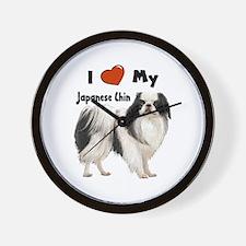 I Love My Japanese Chin Wall Clock