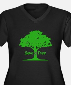 Save a Tree Women's Plus Size V-Neck Dark T-Shirt