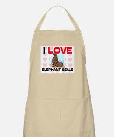I Love Elephant Seals BBQ Apron