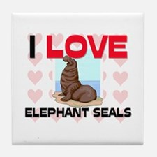 I Love Elephant Seals Tile Coaster