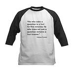 No Foolish Question Proverb Kids Baseball Jersey