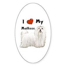 I Love My Maltese Oval Decal