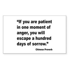 Patient Anger Sorrow Proverb Rectangle Decal