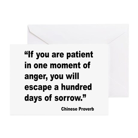 Patient Anger Sorrow Proverb Greeting Cards (Pk of
