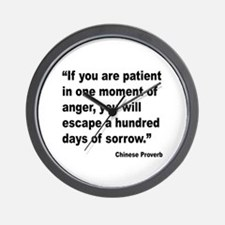 Patient Anger Sorrow Proverb Wall Clock