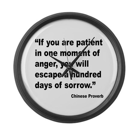 Patient Anger Sorrow Proverb Large Wall Clock