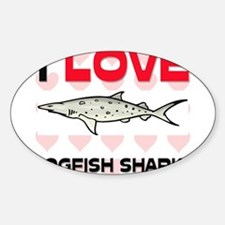 I Love Dogfish Sharks Oval Decal