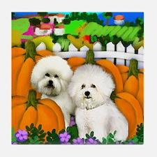 BICHON FRISE Halloween Tile Coaster