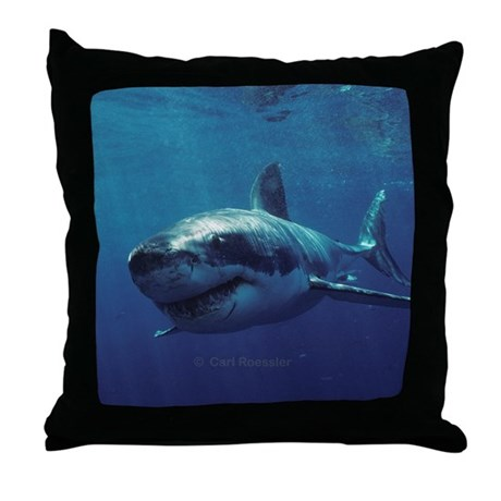 Great white shark bores in Throw Pillow