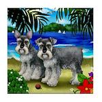 SCHNAUZER DOGS BEACH Tile Coaster
