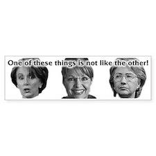 Palin, Hillary & Pelosi Bumper Bumper Sticker