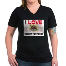 I Love Desert Tortoises Women's V-Neck Dark T-Shir
