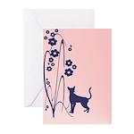 Dark Flowers 'N' Kitty Design Greeting Cards (Pk o