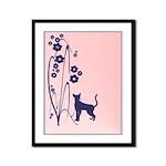 Dark Flowers 'N' Kitty Design Framed Panel Print