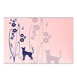 Dark Flowers 'N' Kitty Design Postcards (Package o