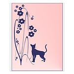Dark Flowers 'N' Kitty Design Small Poster