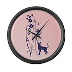 Dark Flowers 'N' Kitty Design Large Wall Clock