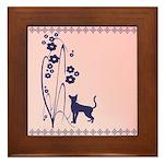 Dark Flowers 'N' Kitty Design Framed Tile