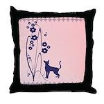 Dark Flowers 'N' Kitty Design Throw Pillow