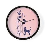 Dark Flowers 'N' Kitty Design Wall Clock