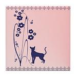 Dark Flowers 'N' Kitty Design Tile Coaster