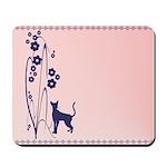 Dark Flowers 'N' Kitty Design Mousepad