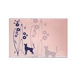 Dark Flowers 'N' Kitty Design Rectangle Magnet (10