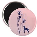 """Dark Flowers 'N' Kitty Design 2.25"""" Magnet (1"""