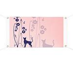 Dark Flowers 'N' Kitty Design Banner