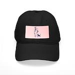 Dark Flowers 'N' Kitty Design Black Cap