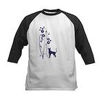 Dark Flowers 'N' Kitty Design Kids Baseball Jersey