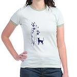 Dark Flowers 'N' Kitty Design Jr. Ringer T-Shirt